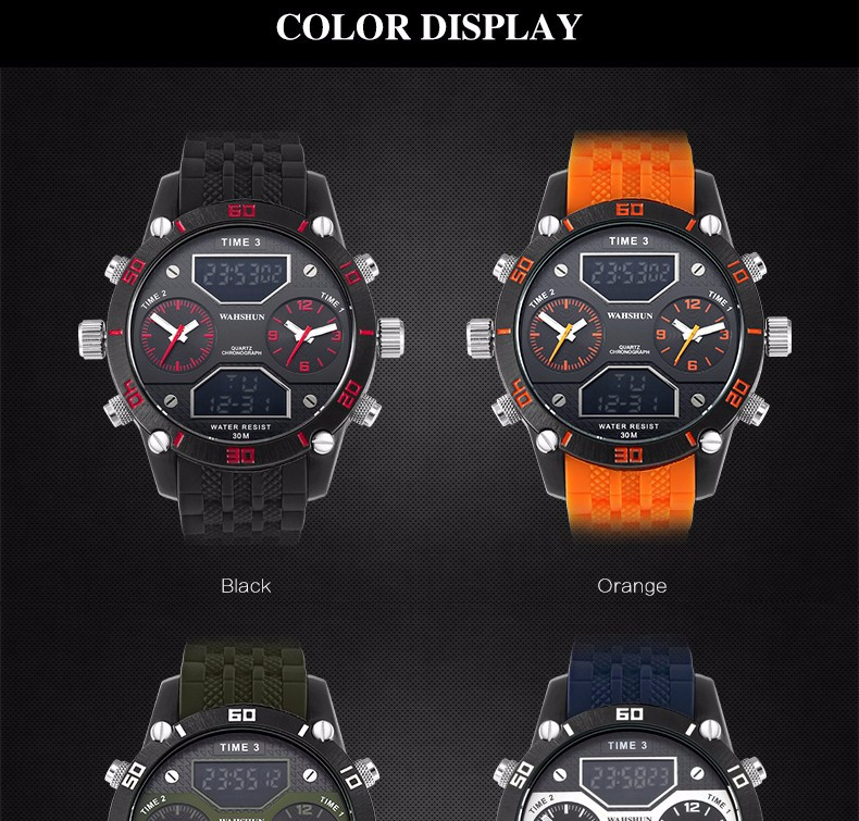 2016 Luxury Brand Military Watches Men Quartz Analog Double movement Clock Man Sports Watches LED Army Watch Relogios Masculino