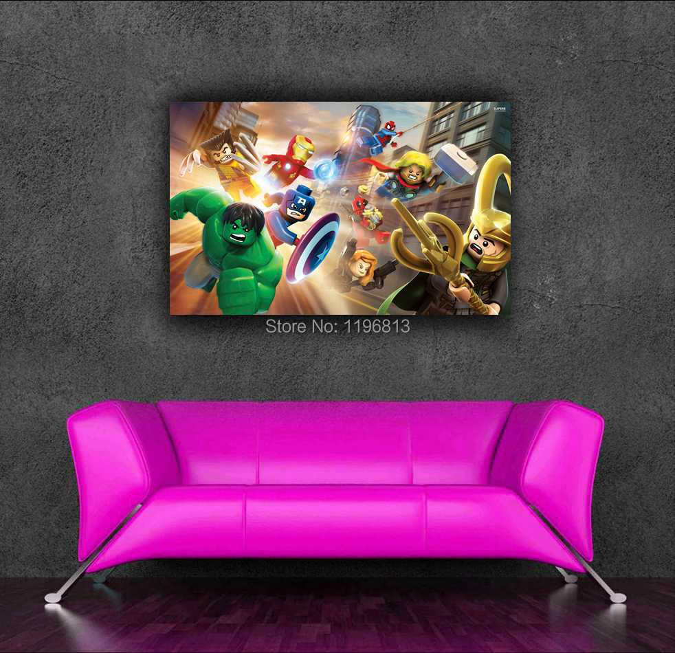 2014 hot vente marvel superhero wall sticker lego film for Decoration maison aliexpress