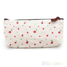 Hot Sale New Flower Floral Pencil Pen Canvas Case Cosmetic Makeup Tool Bag Storage Pouch Purse