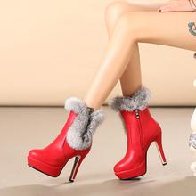Inglaterra Para Mujer Tacones Altos Botines de tacón de Aguja Botas de Cremallera Lateral Borde de Piel Botines Zapatos de la Nieve 5203-7(China (Mainland))
