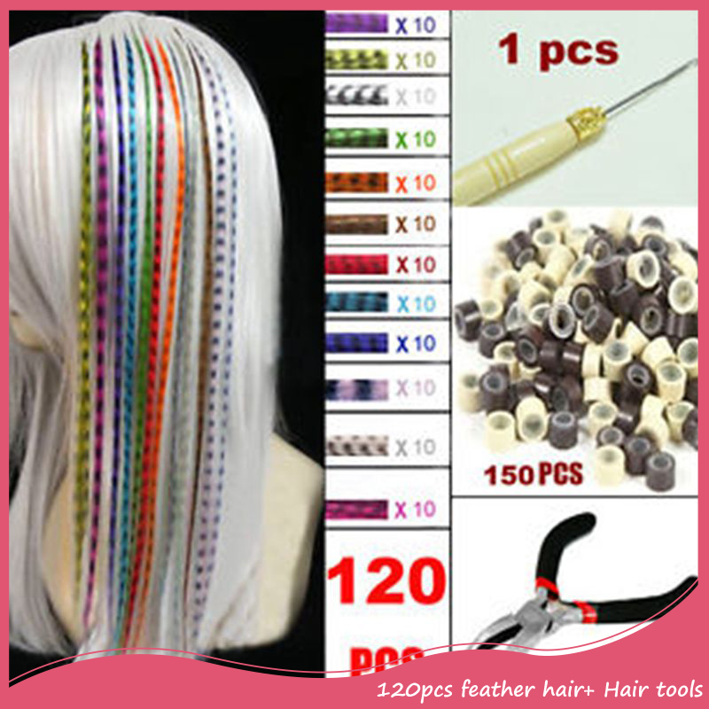 120Pcs/Lot Straight Grizzly Feather Hair Extension Free Shipping Promotion 16inch 40cm Fashion Loop Hair Extensions