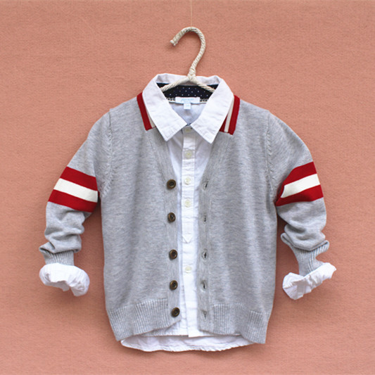2017 fall fashion luxury brand kids V-neck cardigan sweater boys college style trend of girls high quality children's knitwear