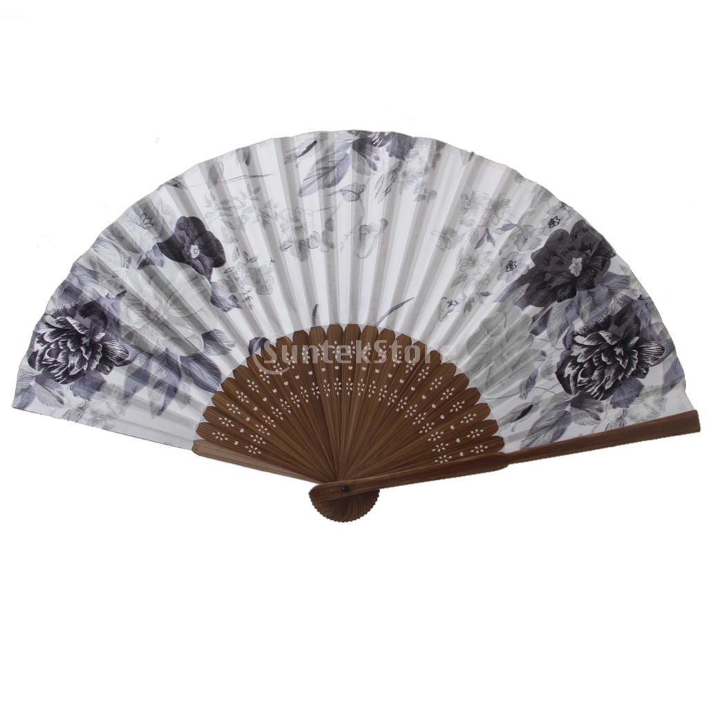 New Arrivals 2015 Silk Ink Flower Pattern Hand Fan Japanese Folding Fan Pocket Fan Free Shipping(China (Mainland))