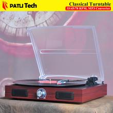 Nouveau 3 Vitesse électrique Musique Plateau Stéréo Haut-Parleur, disques vinyles lecteur avec stylet, MP3 convertisseur, gramophone vinil lecteur(China (Mainland))