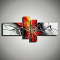 4 modern abstract painting hand painted huge canvas wall art picture black white red home decoration