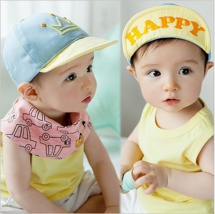 Boys and girls HAPPY letter crown soft along the hat spring, summer, autumn baby baseball cap cap 46 -50 cm 5pcs mix(China (Mainland))