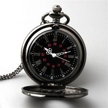 2015 New Retro Vintage Pocket Watch Black For a gift Brand New Antique Steam punk Quartz Necklace N692 Pendant Free Shipping(China (Mainland))