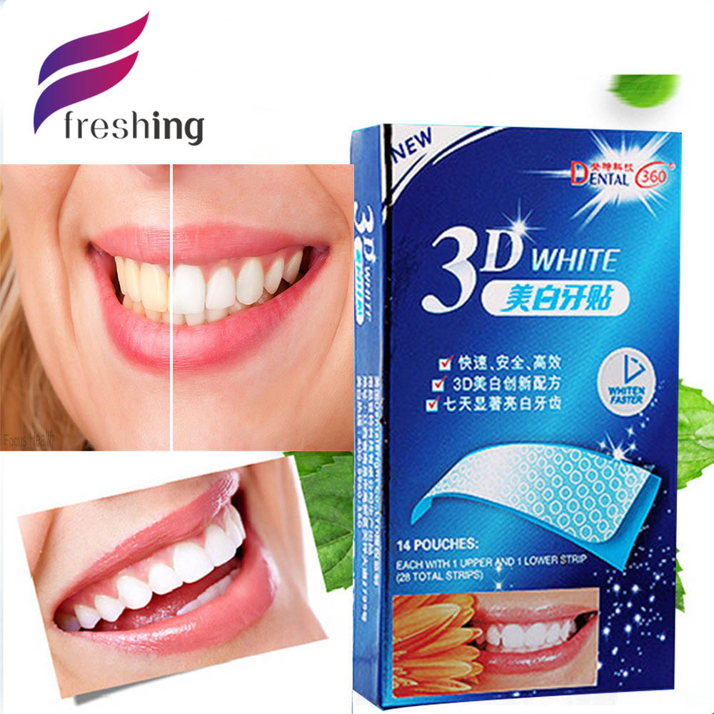 New 14 Packs 28 Pieces Oral Hygiene Teeth Whitening Strips Professional Bleaching Tooth Whitening Products Dental Free Shipping(China (Mainland))