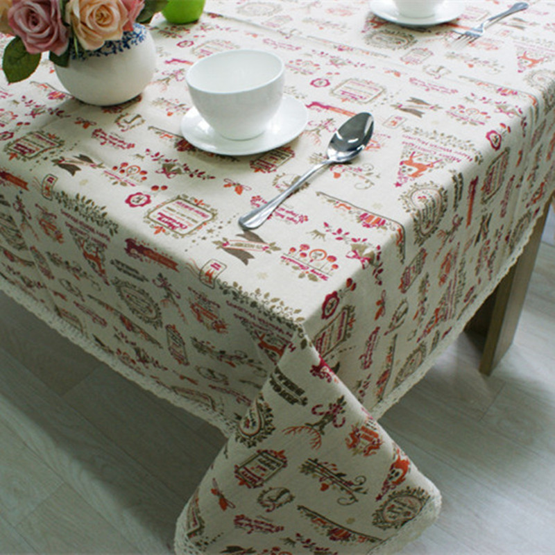 Cotton&Linen tablecloth lace Europe style printed tablewear square rectangle party home decor Continental Christmas home textile(China (Mainland))