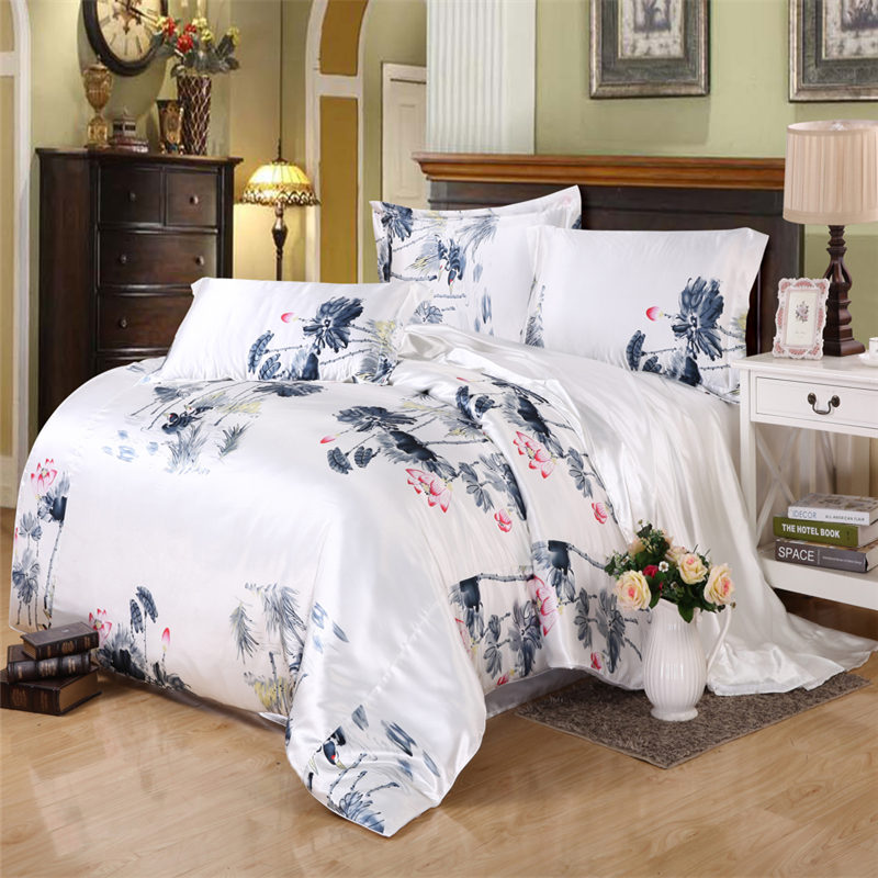 Impact Drill Silk Bedding Set Ink Painting Bedclothes Chinese Style edredones colchas Quilt Cover 4Pcs Twin Full Queen King(China (Mainland))