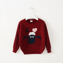 Retail Girls Clothes Cute Lamb Sweaters Autumn Winter Sweater Knitted Cotton Girls Sweater Children Clothing Manufacturers China(China (Mainland))