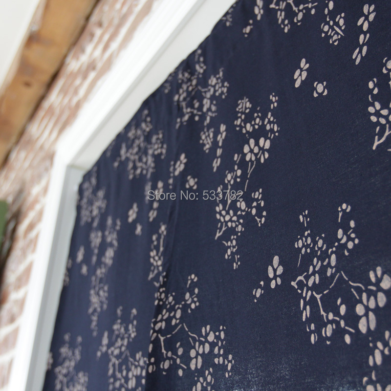 Japanese style brief flower solid color semi-shade fluid coffee curtain door curtain blue(China (Mainland))