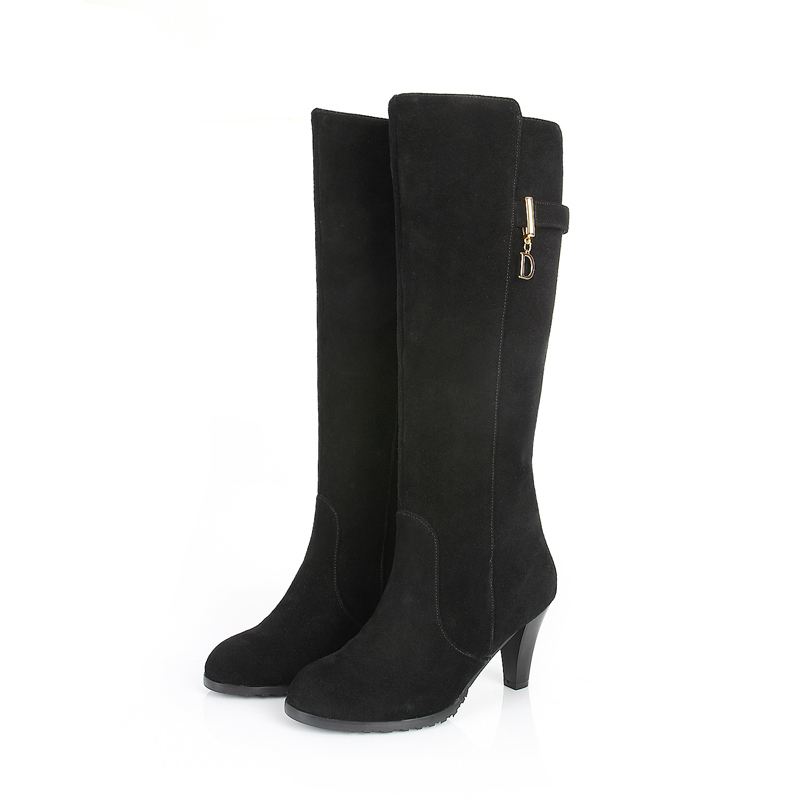 customized s black knee high boots genuine leather