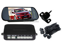 7 inch Car Mirror Screen with Rear View Camera Car Parking Reverse Sensors,HD Visual reversing radar 3in1 function free shipping(China (Mainland))