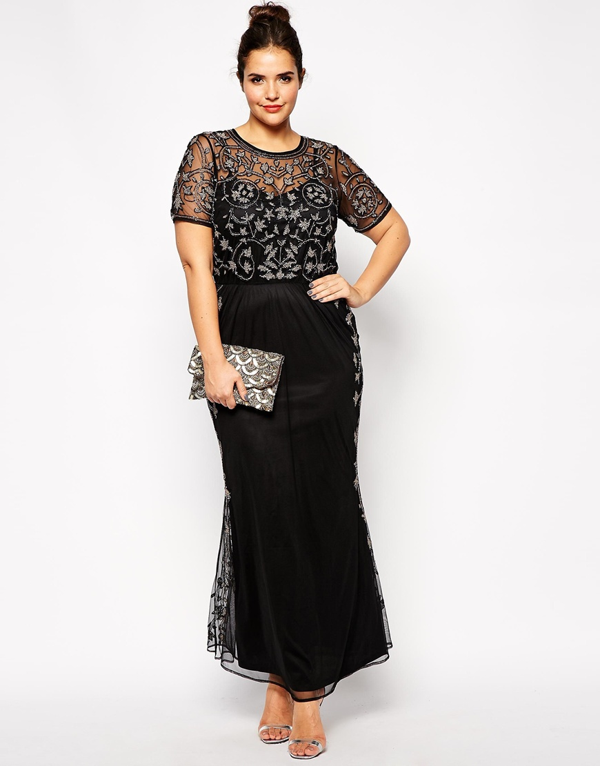 delicate beading short sleeve formal evening dress ankle