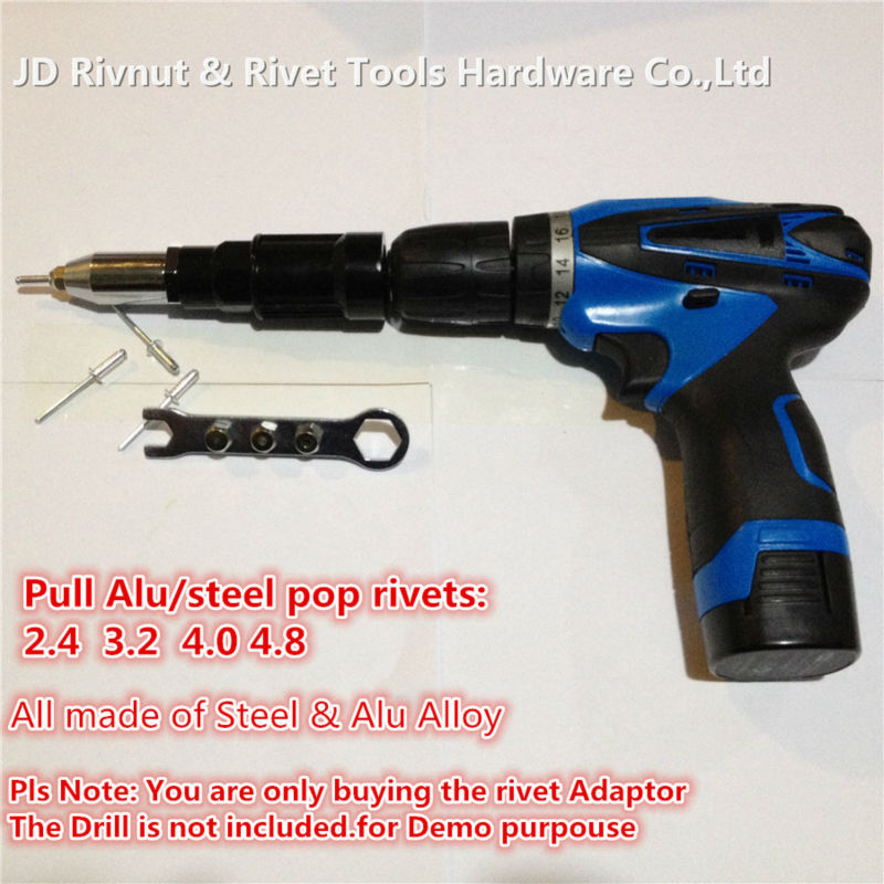 3 16 4 8mm Electric Pop rivet tool made of Steel and Alloy CORDLESS DRILL RIVET