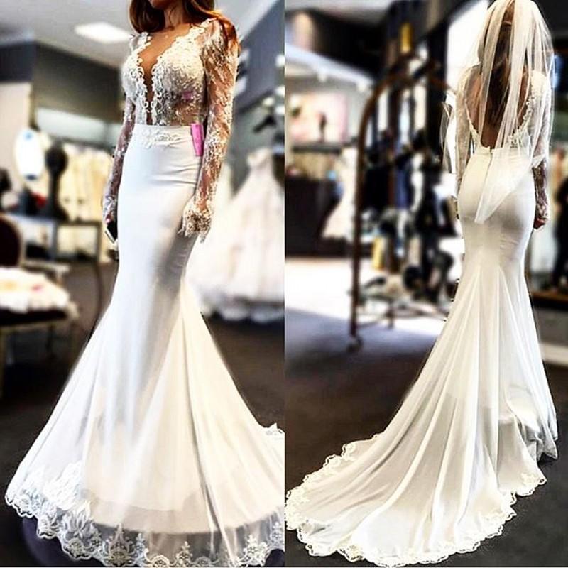Wedding Dress Long Sleeve Backless : Lace long sleeve wedding dress v neck backless sexy mermaid