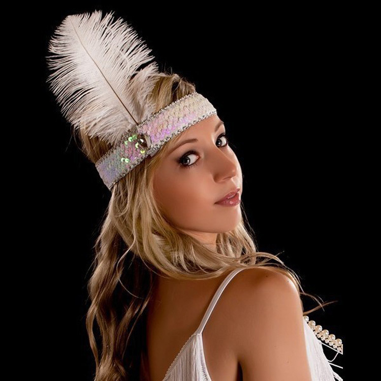 50pcs woman perfume Indian ostrich Feather Headbands 1920s gatsby party Flapper Feather Sequin headdress wedding decorations(China (Mainland))
