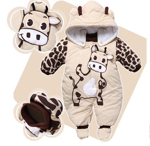 Jumpsuit Hat Shoes Animal Style Warm Hooded Baby Rompers Winter Boys Girls Clothes Outfits Newborn Clothing