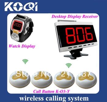 Wireless server system of 1 desktop display and 2 watches pager and 30 3-key Button Table Call Transmitter DHL free shipping