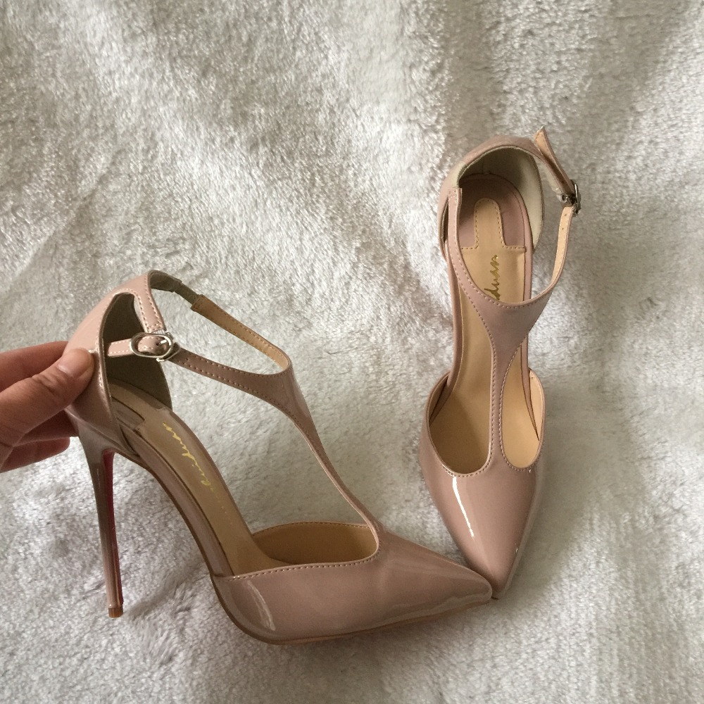 Фотография Brand yunshuiduan pointed toe nude beige black patent leather T strap pointed toe back covered women lady high heel shoes pump