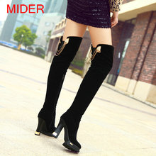 Suede 2016 Platform Thick High Heel Sexy Thigh High Heel Boots With Zip Fashion Autumn Winter Long Boots Black(China (Mainland))