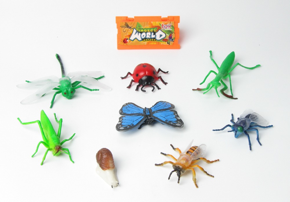 Free shipping 8pcs Insect model+Identification card Snail Butterfly Dragonfly Beetle Bee Interesting Science activity toys(China (Mainland))