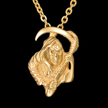 Buy New Never Fade 316L Stainless Steel Grim Reaper Chain Necklace Gold Color Death God Charm Pendant Necklaces for $2.63 in AliExpress store