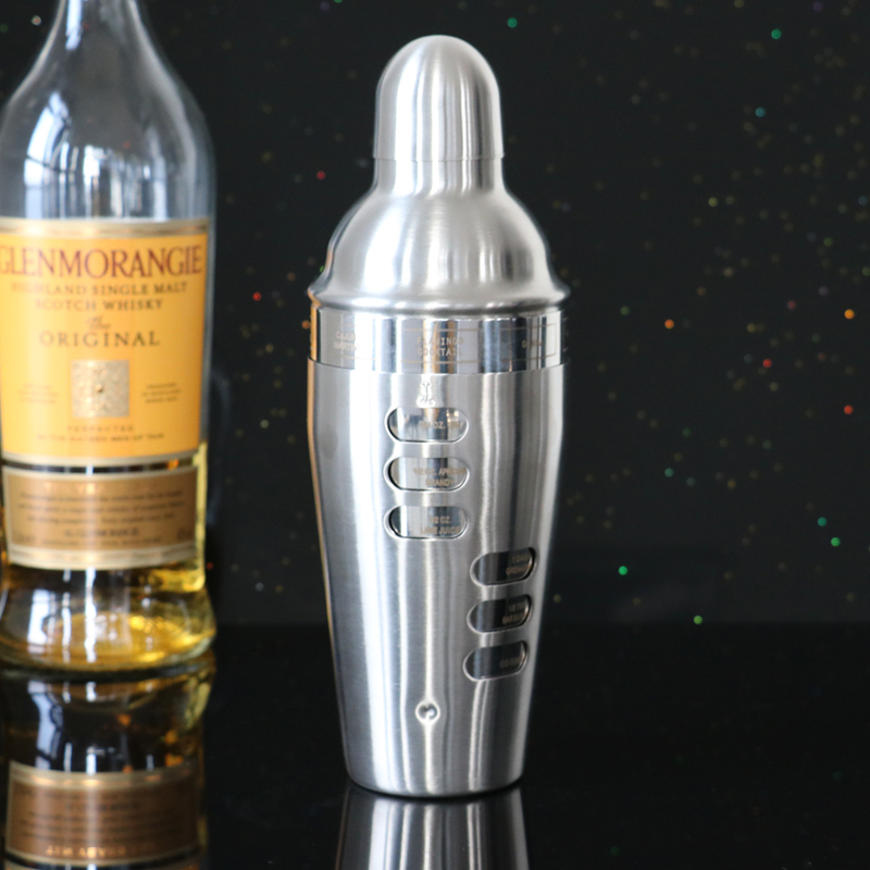 750ML/24OZ Double Wall Stainless Steel Cocktail Shaker With Cocktail Recipes Bar Tools Wine Shaker(China (Mainland))