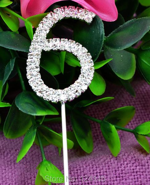 2015 Rhinestone Diamante Monogram Cupcake Stick Topper Number 6 for Wedding Party Table Decoration(China (Mainland))