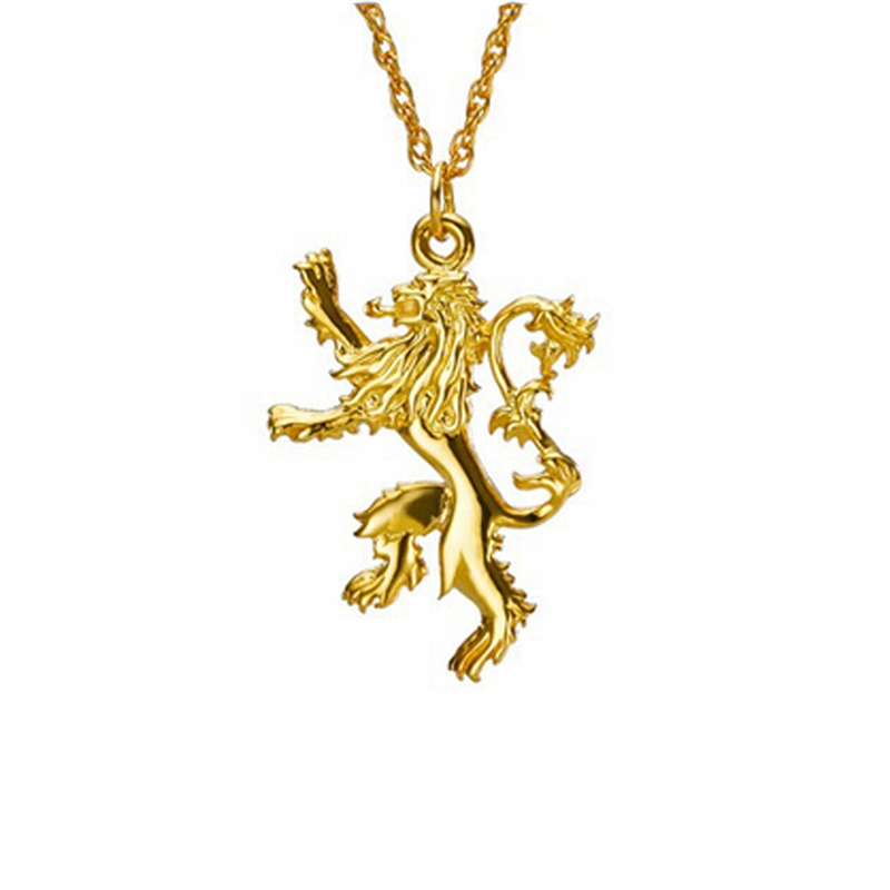 Top Sell Game of Thrones Lannister Lion Golden Pendant Necklace,Fashion male women and lovers Jewelry Animal Pendant Necklaces(China (Mainland))