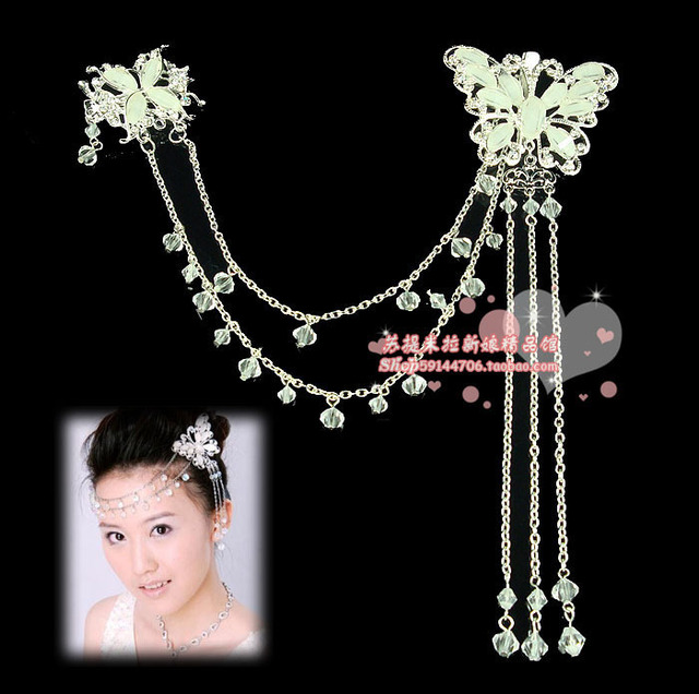 Bridal Jewelry hair accessory white rhinestone Crystal butterfly Head Band Headband Wedding accessories