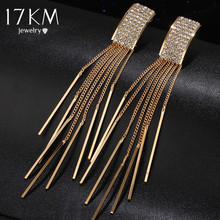 17KM Brand New Gold Color Long Crystal Tassel Dangle Earrings for Women Bar Wedding Drop Earing Fashion Jewelry Gifts(China (Mainland))