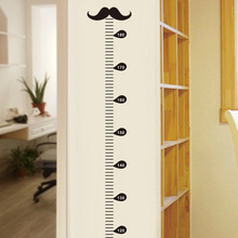 Cartoon black beard measure height wall stickers growth chart stickers for kids room nursery living room home decor PVC vinyl &(China (Mainland))