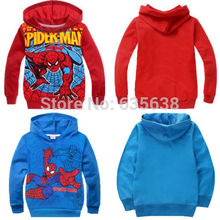 Hot Fashion Spiderman Clothes Kids Boy Sweatshirt Hoodies Pullover Coat Outerwear size 2-8Y(China (Mainland))