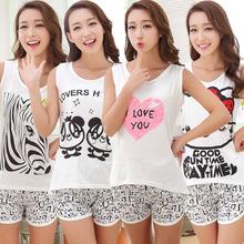 Shirt Women Pyjamas Clothing 2016 Brand Famaily Tracksuit Sleeveless Tops Shorts Set Female Pyjamas Sets Night Suit Sleepwear(China (Mainland))