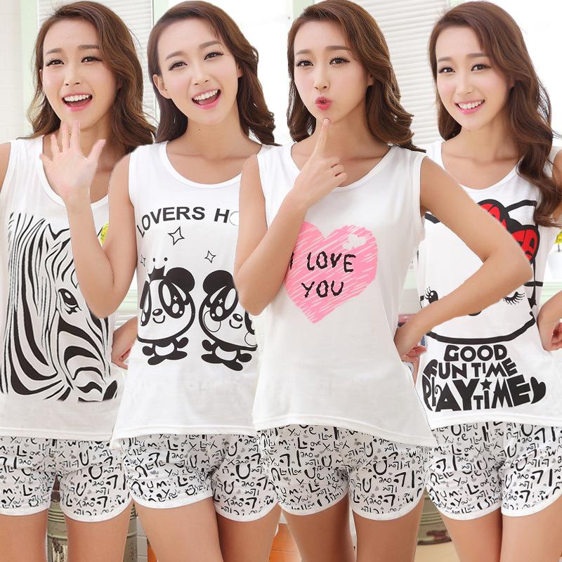 Shirt Women Pyjamas Clothing 2016 Brand Famaily Tracksuit Sleeveless Tops Shorts Set Female Pyjamas Sets Night Suit Sleepwear