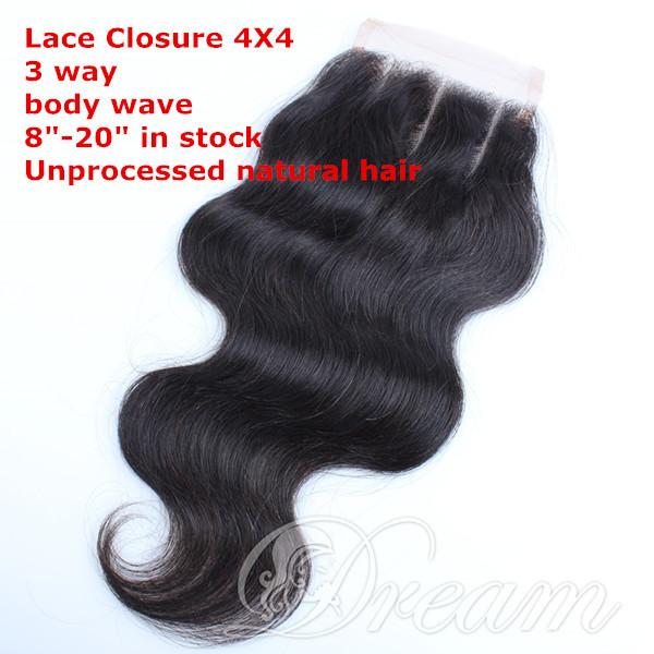 Lace Top Closure Brazilian Body Wave Unprocessed Virgin Human Hair 3Part Hair Extension Bleached Knots ,Free Shipping by UPS<br><br>Aliexpress