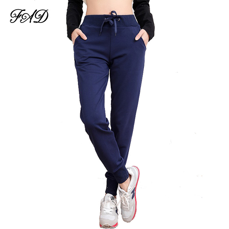 Simple Casual Pants Elastic Waist Loose Solid Ankle Length Pants Women
