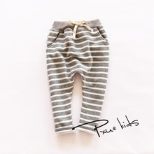 Kids pants 2015  Autumn Boys harem Pants full length terry girls pants Fashion cotton striped trousers  for girls(China (Mainland))