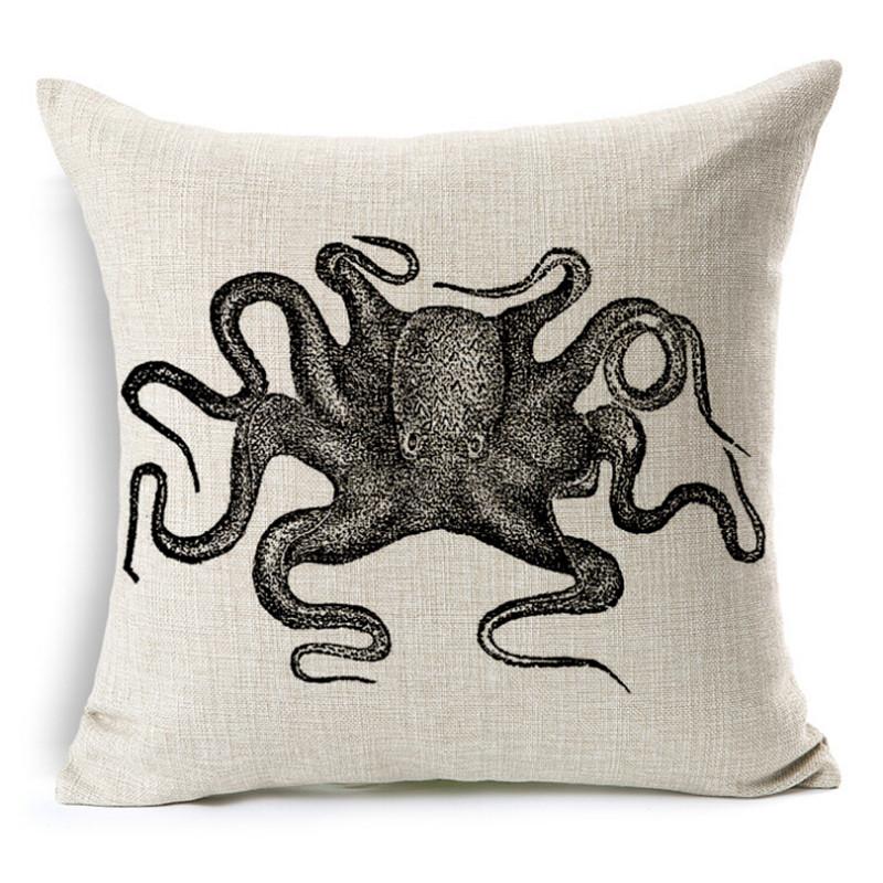 Custom Throw Pillows For Sofa : 2016 octopus /sea series Cushion Without Core Custom Cotton Linen Decorative Throw Pillows Sofa ...