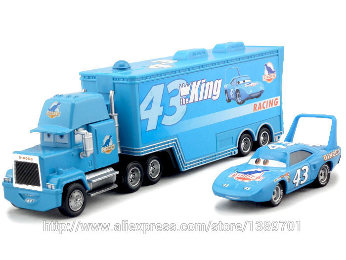 2pcs/set Cars Pixar #43 the king dinoco & mack Hauler Truck Diecast Toys Vehicles for Kids Children Kids Toys(China (Mainland))
