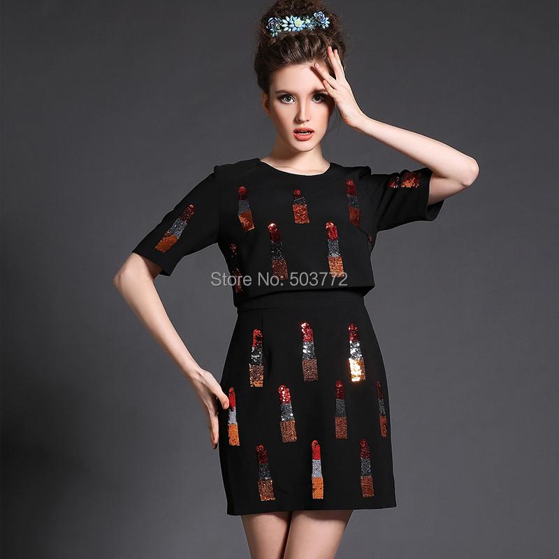 2015 Women Spring Casual Dress Fashion Black Sequined Faux Two Pieces Plus Size Short Sleeve Elegant 5XL - Flora Vogue Apparel Co.,Ltd store