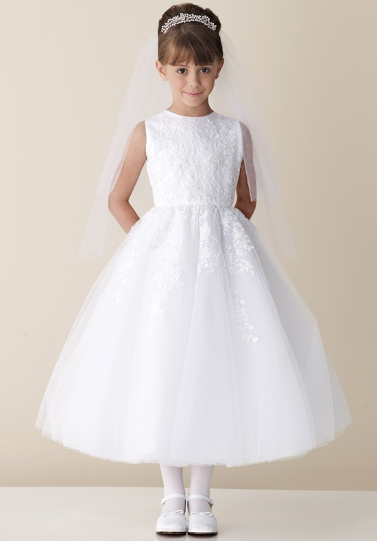 Princess White Appliques Lace Flower Girl Dresses for Weddings 2015 First Communion Dresses for Girls Pageant Interview Vestidos(China (Mainland))