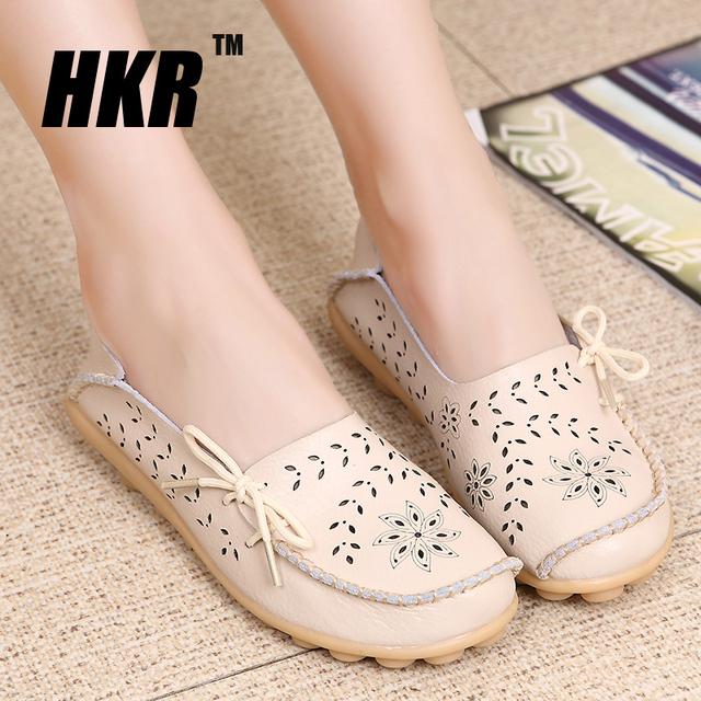HKR 2016 Весенние квартир женщин обувь женская обувь из натуральной кожи женщина ...