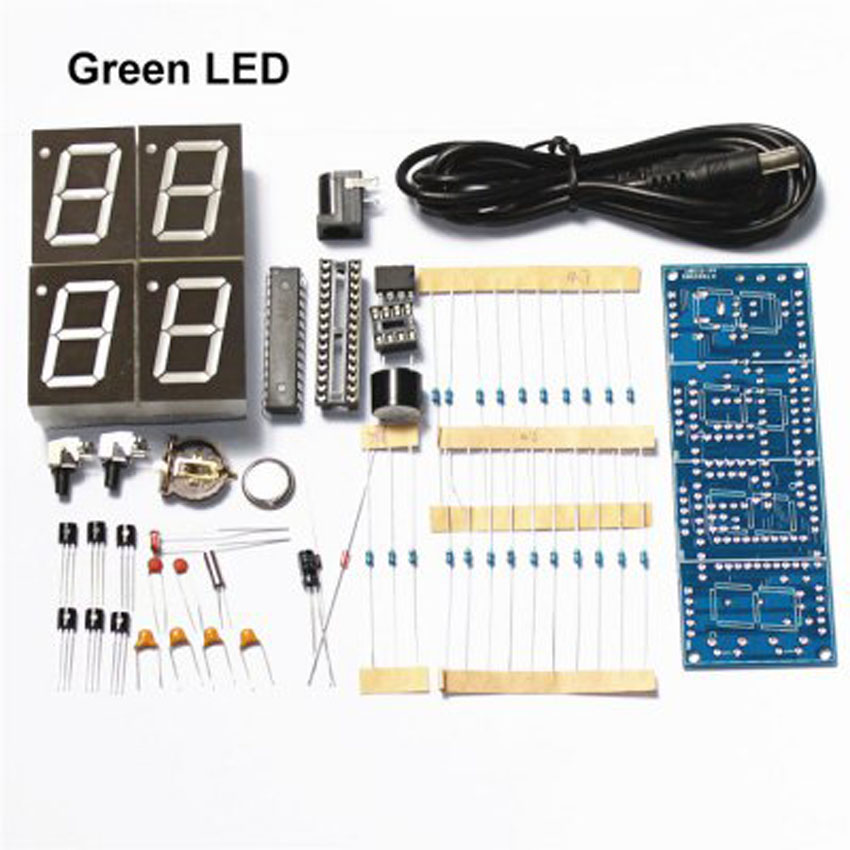 DC5V DIY 4 bit 7 paragraph green LED electronic clock Suites accurate time display diy kit(China (Mainland))