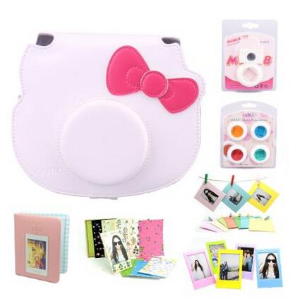 White Fujifilm Instant Camera Cheki Instax Mini Hello Kitty INS MINI KIT Polaroid Accessory Bundles Set XJB781