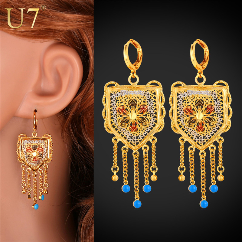 Long Drop Earrings For Women Jewelry New Trendy 18K Real Gold Plated Plant Long Tassels Dangle Earrings Indian Jewelry E650(China (Mainland))