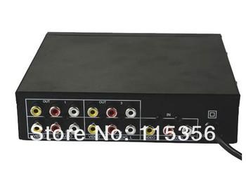 free shipping 220V 1 IN 4 OUT 104VA 4 Port RCA Audio Video AV Distribution Amplifier Splitter for TV DVD LCD