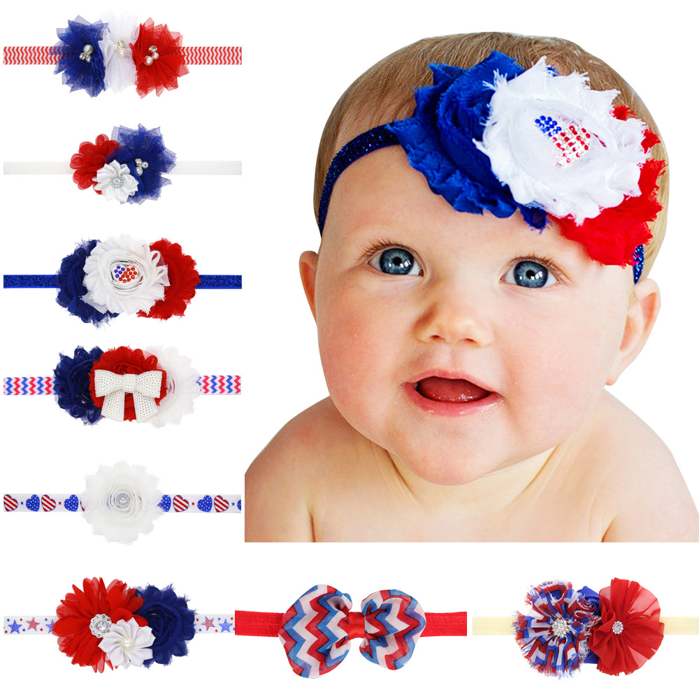 Hot Sale Baby Headband American Flag Chiffon Flower Shabby Satin Flower Independence Day Kid Hair Accessories Chiffon Fashion(China (Mainland))